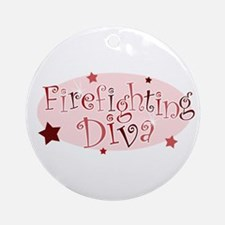 """""""Firefighting Diva"""" [red] Ornament (Round)"""