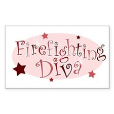 """Firefighting Diva"" [red] Rectangle Decal"