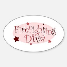 """""""Firefighting Diva"""" [red] Oval Decal"""