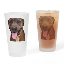 Cute Pit Bull Terrier Rescue Drinking Glass
