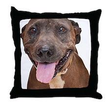 Cute Pit Bull Terrier Rescue Throw Pillow