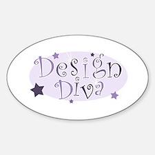 """""""Design Diva"""" [purple] Oval Decal"""
