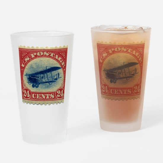 Curtiss Jenny 1918 24c US stamp Drinking Glass