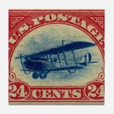 Curtiss Jenny 1918 24c US stamp Tile Coaster