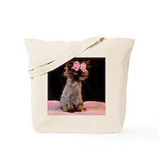 Freida wearing her pink bow. Tote Bag