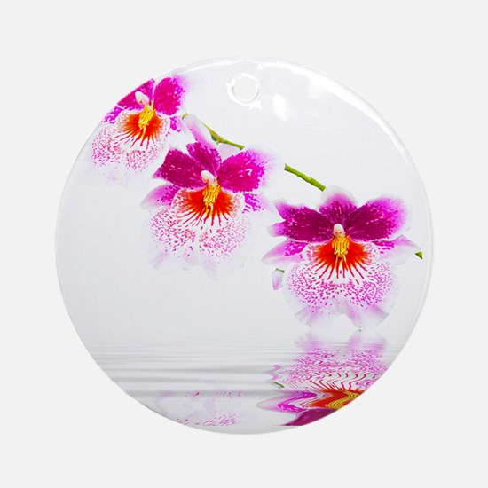 Three Oncidium Pink and White Orchi Round Ornament