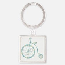 vintage bicycle silhouette argyle  Square Keychain