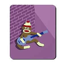 Sock Monkey Playing Blue Guitar Mousepad