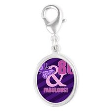 80th Birthday Butterfly Silver Oval Charm