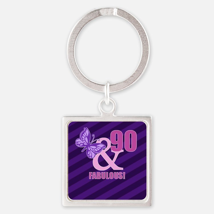 90th Birthday Butterfly Square Keychain