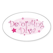 """Decorating Diva"" [pink] Oval Decal"