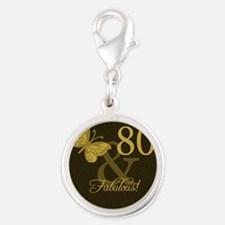 80th Birthday Butterfly Silver Round Charm