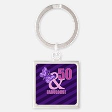 50th Birthday Butterfly Square Keychain