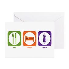 Eat Sleep Teach Greeting Cards (Pk of 10)