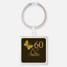 60th Birthday Butterfly Square Keychain