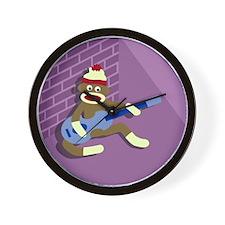 Sock Monkey Playing Blue Guitar Wall Clock
