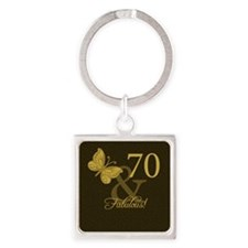 70th Birthday Butterfly Square Keychain