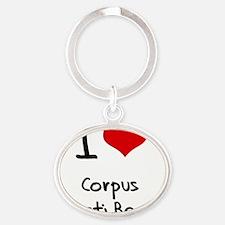 I Love CORPUS CHRISTI BEACH Oval Keychain