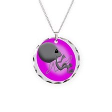 Alien Fetus Necklace Circle Charm