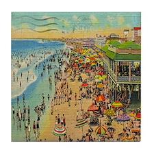 Vintge Ocean City NJ Postcard Tile Coaster