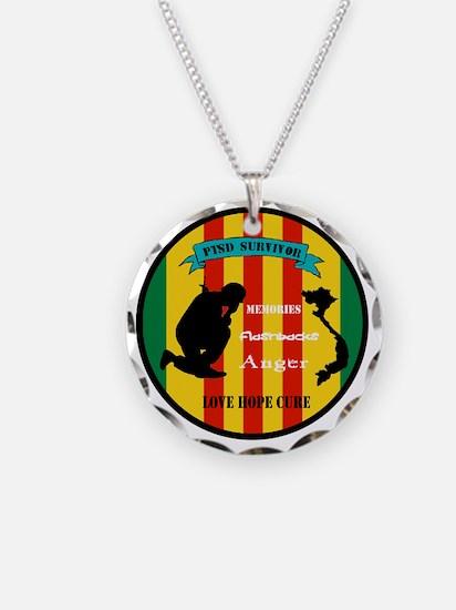 Vietnam PTSD Survivor Necklace Circle Charm