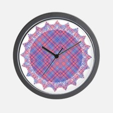 Colorful Blue and Pink Lattice Pattern Wall Clock