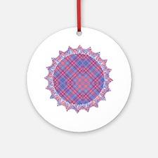 Colorful Blue and Pink Lattice Patt Round Ornament
