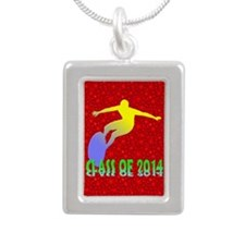 Class Of 2014 Surfing Silver Portrait Necklace