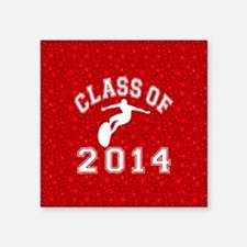 "Class Of 2014 Surfing Square Sticker 3"" x 3"""