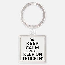 Keep Calm and Keep on Truckin Square Keychain