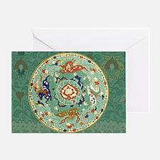 Vintage Chinese Blue Green Land Sea  Greeting Card