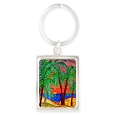 Mountain Sunset Palms Portrait Keychain
