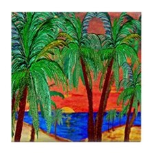 Mountain Sunset Palms Tile Coaster