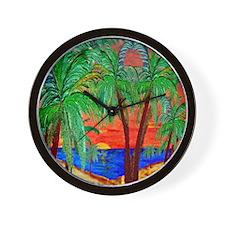 Mountain Sunset Palms Wall Clock