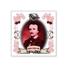 "Edgar Allan Poe Raven Square Sticker 3"" x 3"""