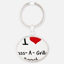 I Love PASS-A-GRILLE BEACH Oval Keychain