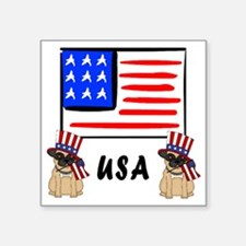 "Patriotic USA Pugs Square Sticker 3"" x 3"""
