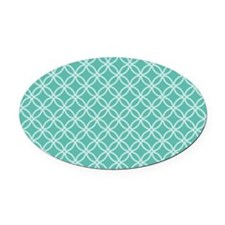 Dotted Circles PC White Med Teal Oval Car Magnet