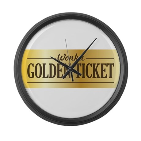 Willy Wonka Golden Ticket Large Wall Clock