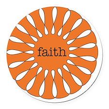 Faith Orange Round Car Magnet