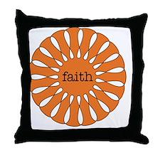 Faith Orange Throw Pillow