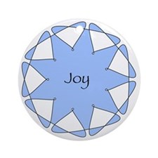 Joy Blue Star Round Ornament