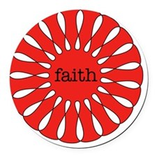 Faith Red Pendant Round Car Magnet