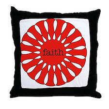 Faith Red Pendant Throw Pillow