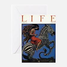 Vintage Zebra with Art Nouveau Woman Greeting Card