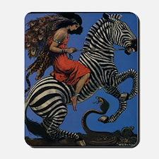 Vintage Zebra with Art Nouveau Woman Rid Mousepad