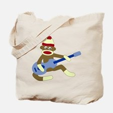 Sock Monkey Playing Blue Guitar Tote Bag