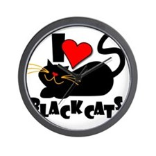 LOVE BLACK CATS Wall Clock