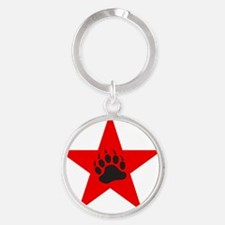 Red Star Round Keychain