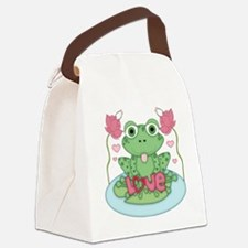 Valentine Frog with Love Canvas Lunch Bag